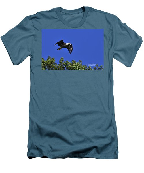 Men's T-Shirt (Slim Fit) featuring the photograph Eagle Over The Tree Top by Randall Branham
