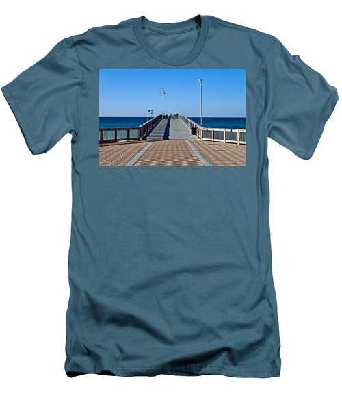 Men's T-Shirt (Slim Fit) featuring the photograph Entrance To A Fishing Pier by Susan Leggett