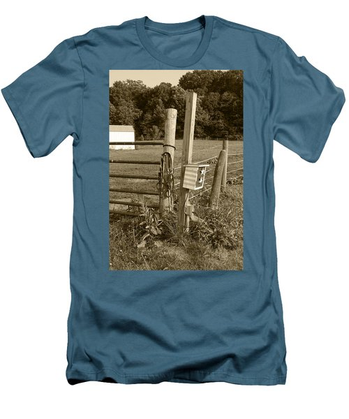 Men's T-Shirt (Slim Fit) featuring the photograph Fence Post by Jennifer Ancker
