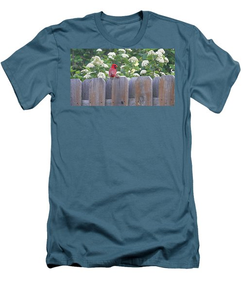 Men's T-Shirt (Slim Fit) featuring the photograph Fence Top by Elizabeth Winter