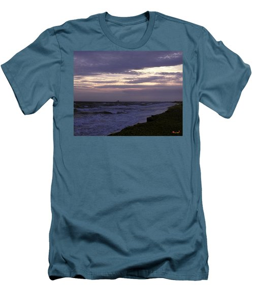 Fishing Pier Before The Storm 14a Men's T-Shirt (Slim Fit) by Gerry Gantt