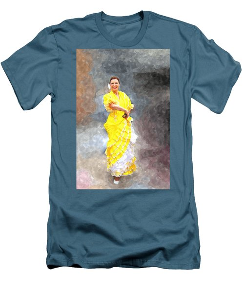 Men's T-Shirt (Slim Fit) featuring the photograph Flamenco Dancer In Yellow by Davandra Cribbie