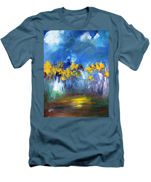 Flowers Of Maze In Blue Men's T-Shirt (Slim Fit) by Gary Smith