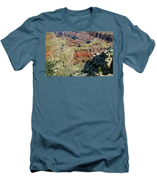 Men's T-Shirt (Slim Fit) featuring the painting From Yaki Point 6 Grand Canyon by Bob and Nadine Johnston
