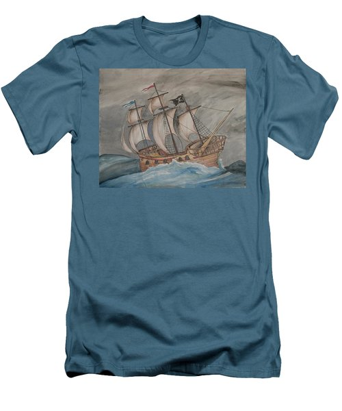 Ghost Pirate Ship Men's T-Shirt (Athletic Fit)