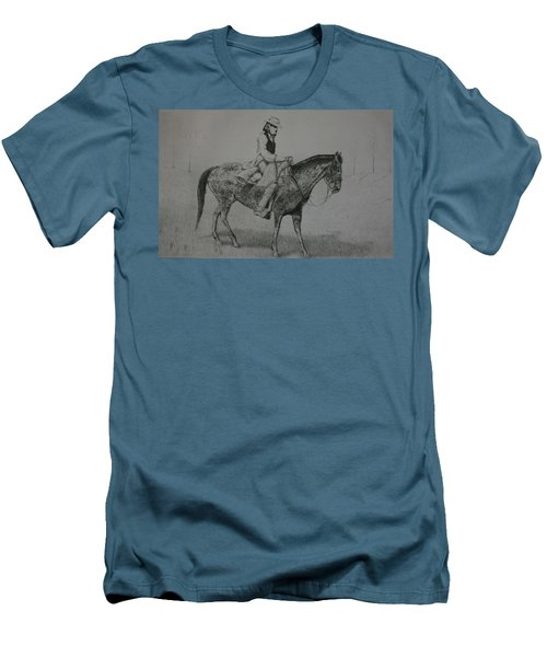 Men's T-Shirt (Slim Fit) featuring the drawing Horseman by Stacy C Bottoms