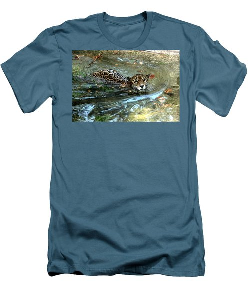 Men's T-Shirt (Slim Fit) featuring the photograph Jaguar In For A Swim by Kathy  White