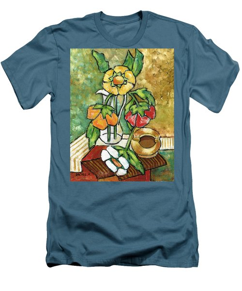 Large Flowers Men's T-Shirt (Slim Fit) by Rachel Hershkovitz
