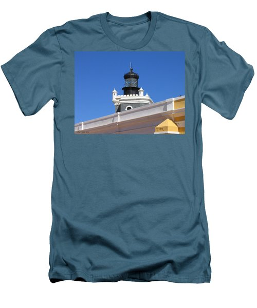 Lighthouse At Puerto Rico Castle Men's T-Shirt (Athletic Fit)