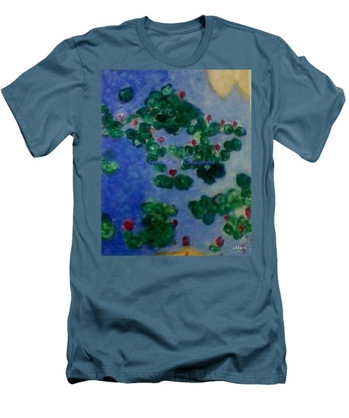 Men's T-Shirt (Slim Fit) featuring the painting Lily Pond by Sonali Gangane