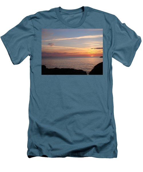 Men's T-Shirt (Slim Fit) featuring the photograph Lone Freighter On Up by Bonfire Photography