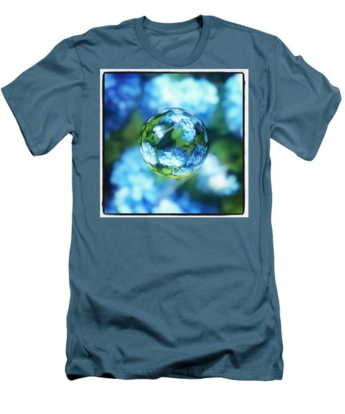 Marbled Blue Hydrangea Men's T-Shirt (Athletic Fit)