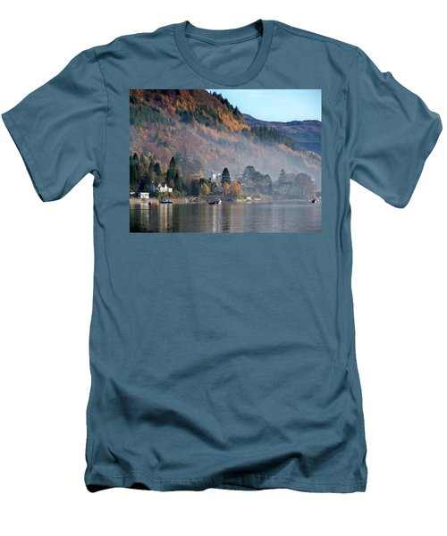Men's T-Shirt (Slim Fit) featuring the photograph Misty Autumn Morning by Lynn Bolt