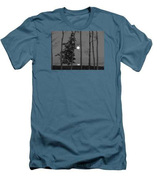 Moon Birches Black And White Men's T-Shirt (Slim Fit) by Francine Frank