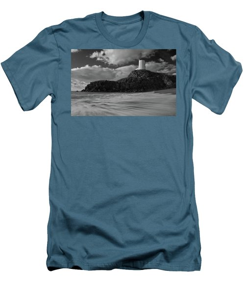 Niwbwrch Lighthouse Men's T-Shirt (Slim Fit) by Beverly Cash