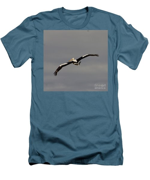 Men's T-Shirt (Slim Fit) featuring the photograph Pelican In Flight 2 by Blair Stuart