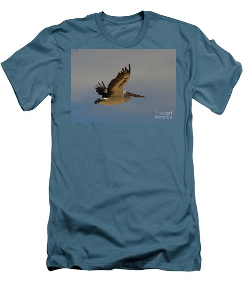 Men's T-Shirt (Slim Fit) featuring the photograph Pelican In Flight 5 by Blair Stuart