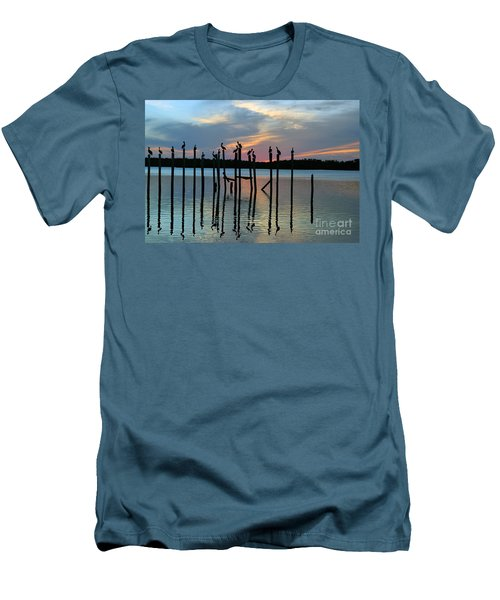 Men's T-Shirt (Slim Fit) featuring the photograph Pelican Resting End Of Day by Dan Friend
