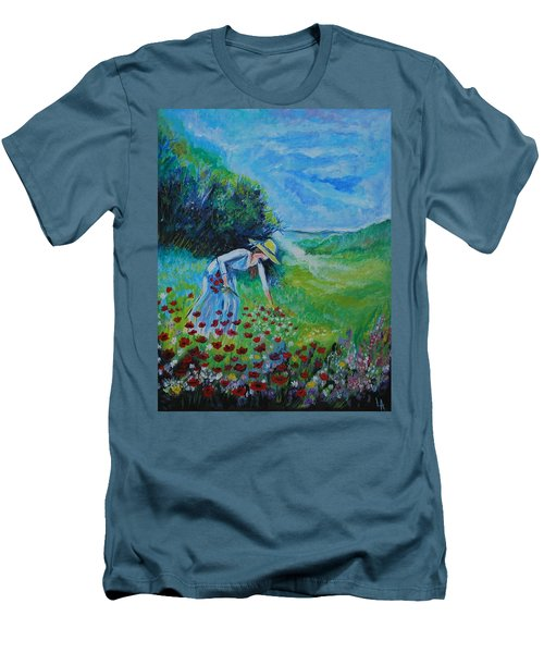 Men's T-Shirt (Slim Fit) featuring the painting Picking Flowers by Leslie Allen