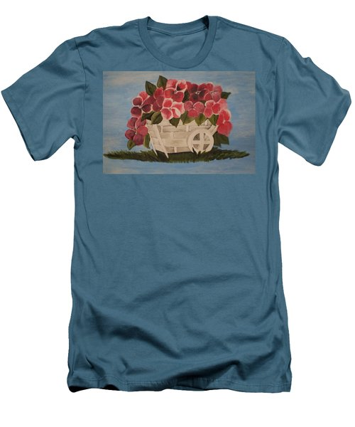 Pink Flowers In A Wagon Basket Men's T-Shirt (Slim Fit) by Christy Saunders Church