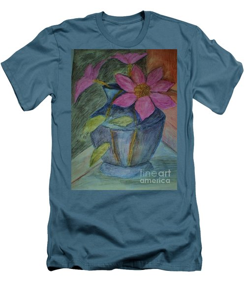 Pink Flowers In Blue Vase Men's T-Shirt (Slim Fit) by Christy Saunders Church