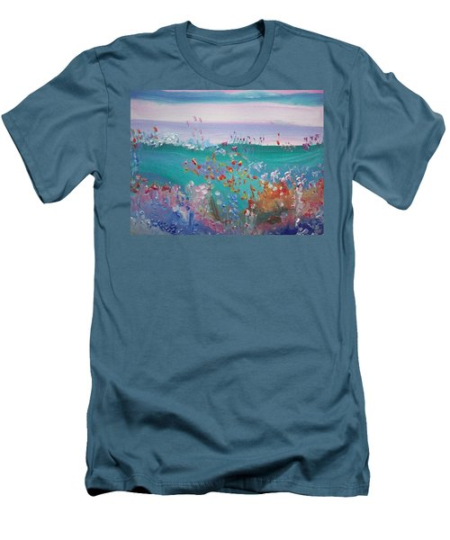 Men's T-Shirt (Slim Fit) featuring the painting Pretty Garden by Judith Desrosiers
