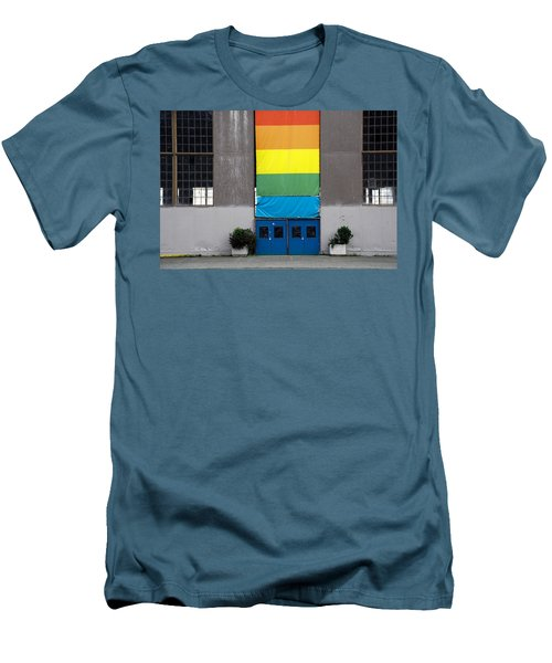 Men's T-Shirt (Slim Fit) featuring the photograph Rainbow Banner Building by Kathleen Grace