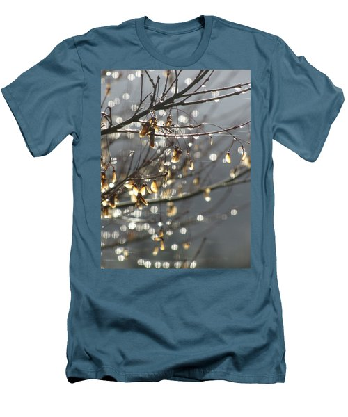 Raindrops And Leaves Men's T-Shirt (Slim Fit) by Katie Wing Vigil