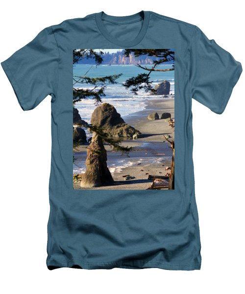 Men's T-Shirt (Slim Fit) featuring the photograph Ruby Beach Iv by Jeanette C Landstrom