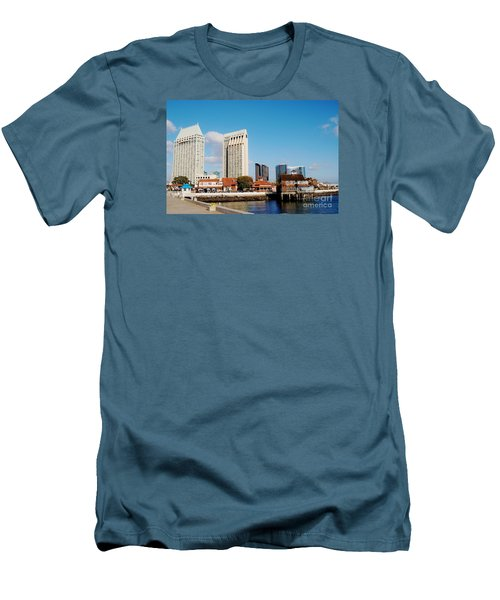 Men's T-Shirt (Slim Fit) featuring the photograph San Diego - Seaport Village by Jasna Gopic