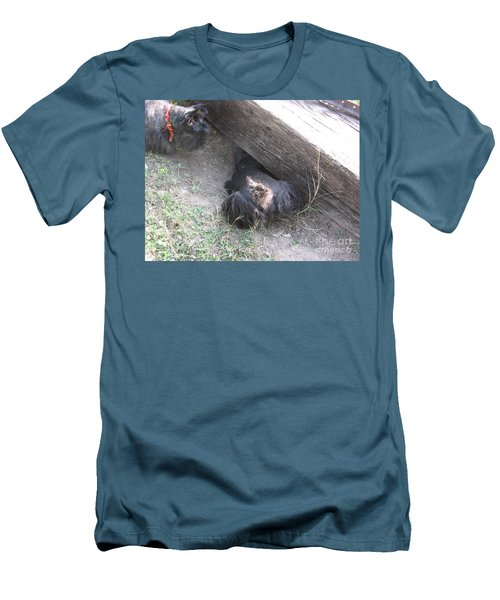Men's T-Shirt (Slim Fit) featuring the photograph Scotty Armadillo Dance by Mark Robbins
