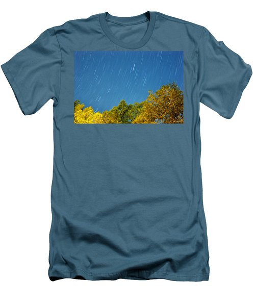 Men's T-Shirt (Slim Fit) featuring the photograph Star Trails On A Blue Sky by Kay Lovingood