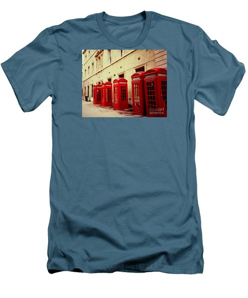 Men's T-Shirt (Slim Fit) featuring the photograph Telephone Booths by Ranjini Kandasamy