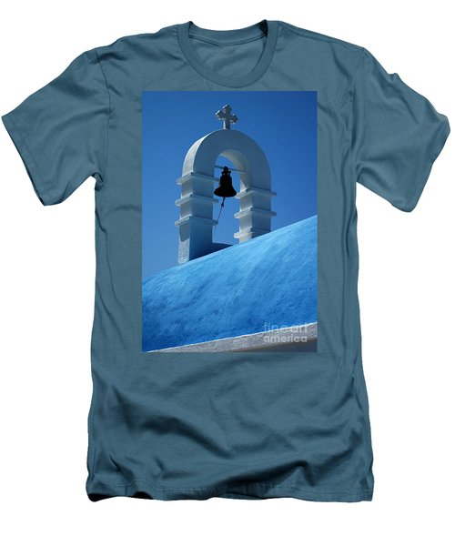 The Bell Tower In Mykonos Men's T-Shirt (Slim Fit) by Vivian Christopher