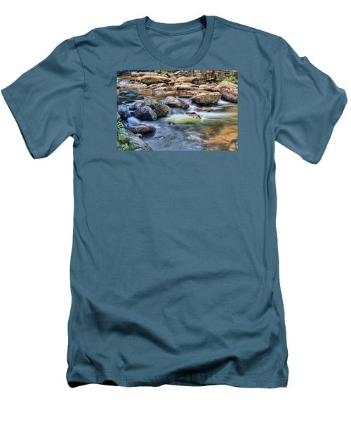 Men's T-Shirt (Slim Fit) featuring the digital art Trout Stream by Mary Almond
