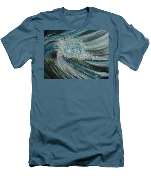 Men's T-Shirt (Slim Fit) featuring the painting Wave Whirl by Julie Brugh Riffey