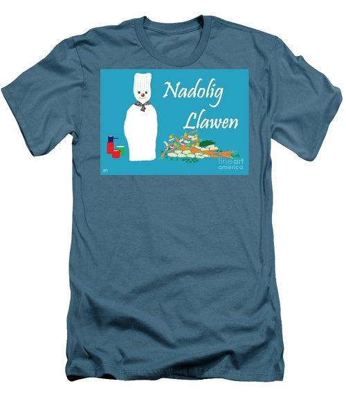 Men's T-Shirt (Slim Fit) featuring the digital art Welsh Snowman Chef by Barbara Moignard