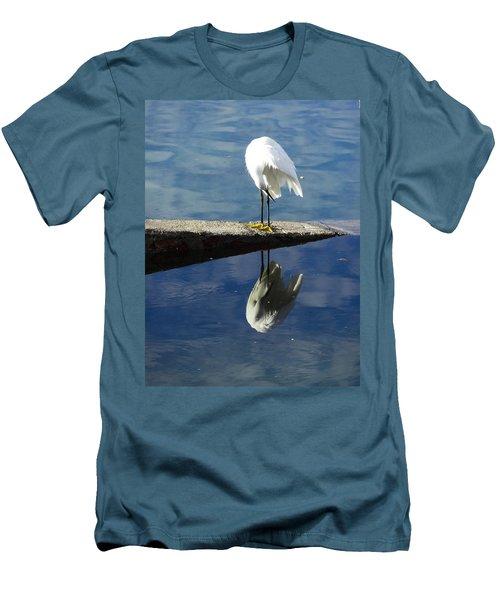 White Heron Men's T-Shirt (Slim Fit) by Anne Mott