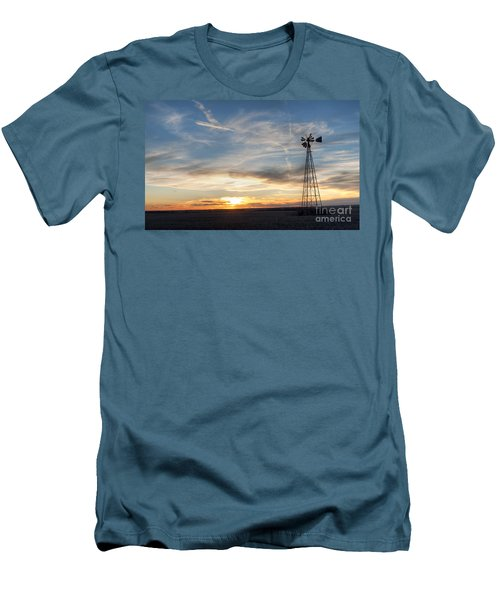 Windmill And Sunset Men's T-Shirt (Slim Fit) by Art Whitton