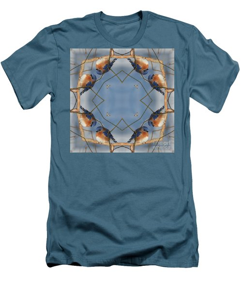 Winter Bluebird Kaleidoscope Men's T-Shirt (Slim Fit) by Smilin Eyes  Treasures