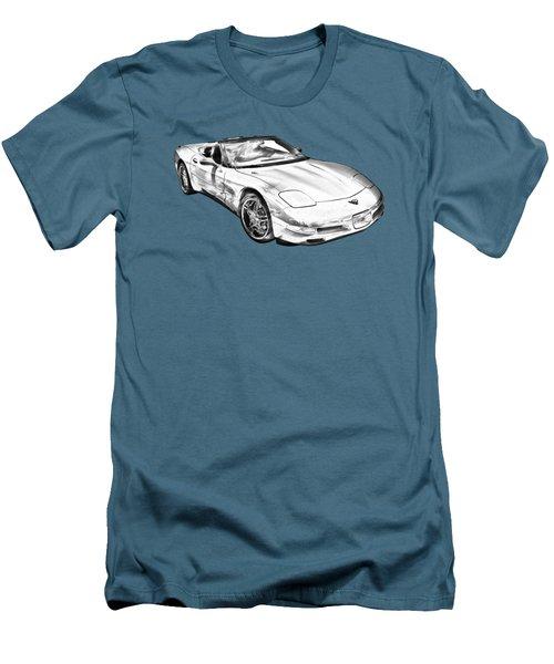 C5 Corvette Convertible Muscle Car Illustration Men's T-Shirt (Slim Fit) by Keith Webber Jr