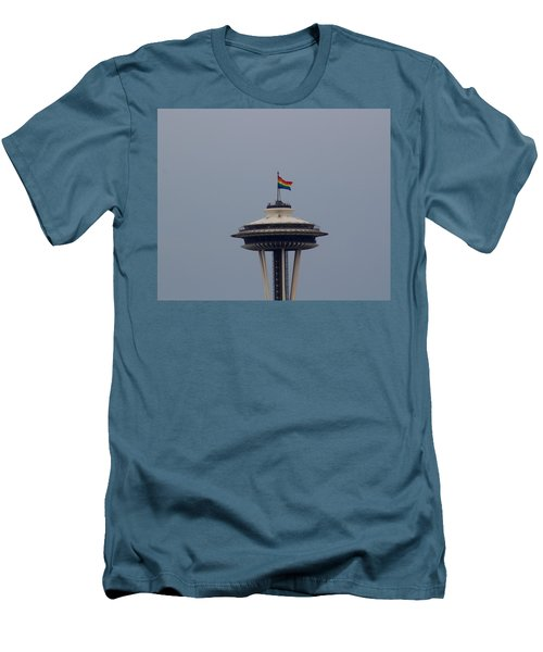 Celebrates Gay Pride  Men's T-Shirt (Athletic Fit)