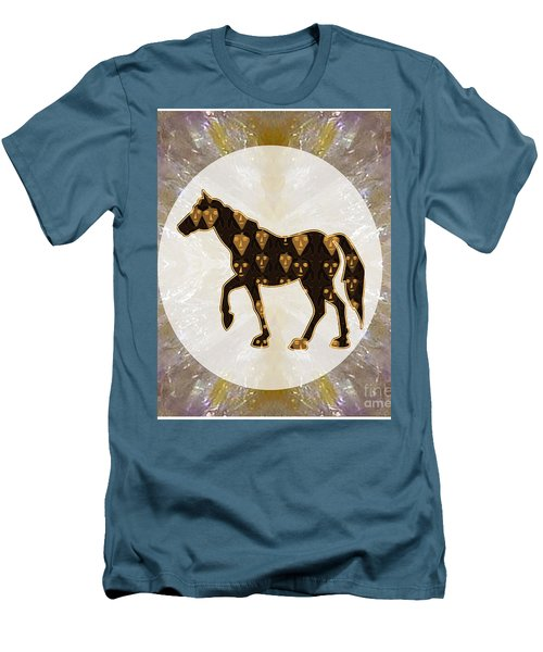 Horse Prancing Abstract Graphic Filled Cartoon Humor Faces Download Option For Personal Commercial  Men's T-Shirt (Slim Fit)
