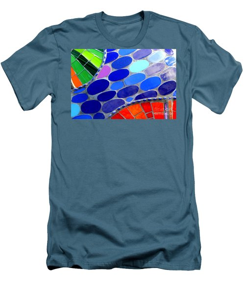 Mosaic Abstract Of The Blue Green Red Orange Stones Men's T-Shirt (Slim Fit) by Michael Hoard
