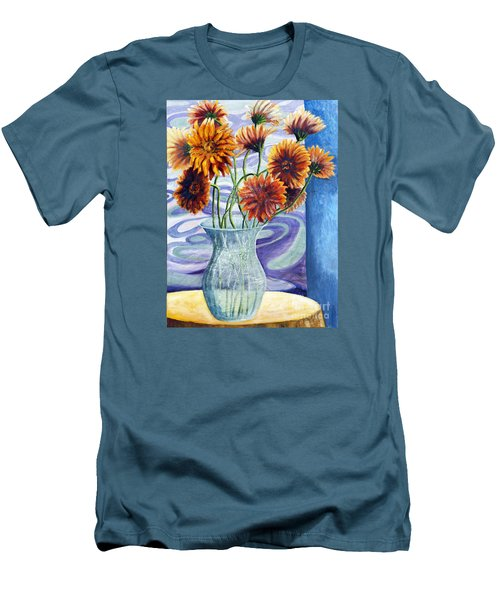 01305 Orange African Daisies Men's T-Shirt (Slim Fit) by AnneKarin Glass