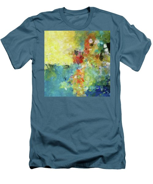 Men's T-Shirt (Slim Fit) featuring the painting Abstract Seascape Painting by Ayse Deniz
