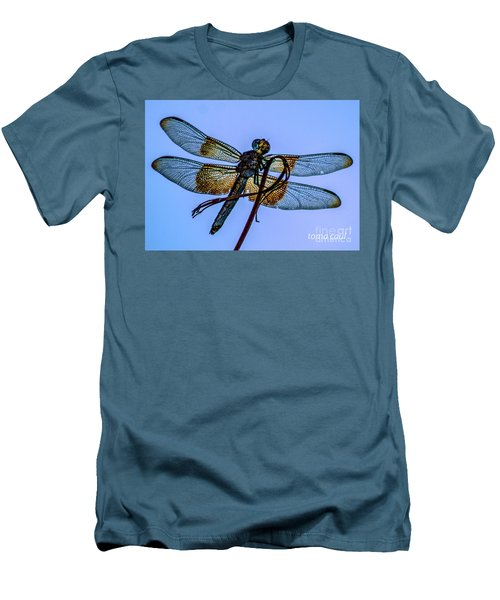 Blue Dragonfly Men's T-Shirt (Slim Fit) by Toma Caul