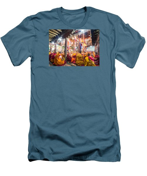 Buddhist Monks Praying In Thiksay Monastery Men's T-Shirt (Athletic Fit)