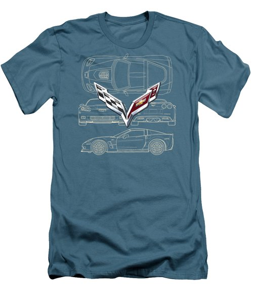 Chevrolet Corvette 3 D Badge Over Corvette C 6 Z R 1 Blueprint Men's T-Shirt (Slim Fit) by Serge Averbukh