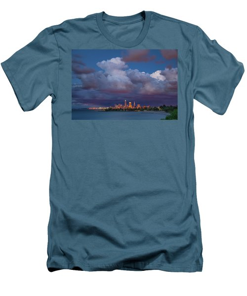 Men's T-Shirt (Slim Fit) featuring the photograph Cleveland Skyline  by Emmanuel Panagiotakis
